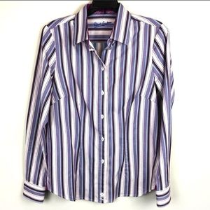 Robert Graham Striped Button Front Fitted Blouse M